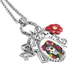 Day of the Dead is a great holiday to honor those that have a passed away.  Honor it all year long with our Day of the Dead charm necklace with vintage images.
