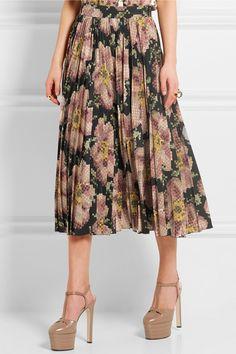 Gucci | Floral-print pleated silk skirt | NET-A-PORTER.COM