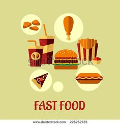 Fast food flat poster design with colorful vector icons of dessert, beverages, chicken, french fries, pie and cheeseburger and text Fast Food below Flat Design Icons, Icon Design, Vector Icons, Chalk Paint, Pixel Art, Royalty Free Stock Photos, French Fries, Illustration, Beverages