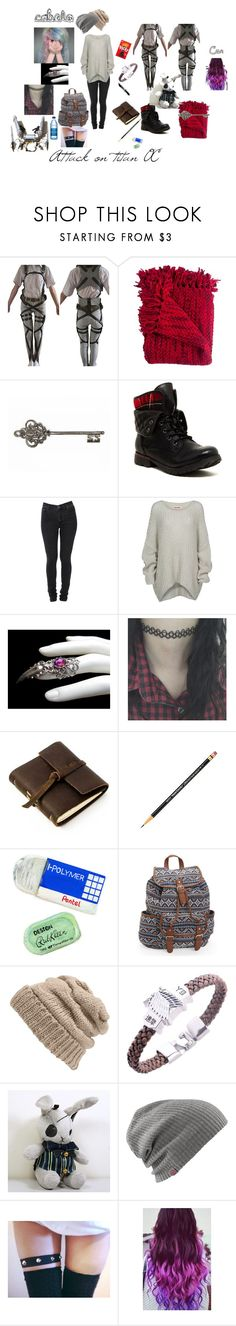 """""""Attack on titan oc"""" by vivi-br ❤ liked on Polyvore featuring Woven Workz, WALL, Rock & Candy, Cheap Monday, Bodhi, Rustico, Pentel, Aéropostale, Leith and Ciel"""