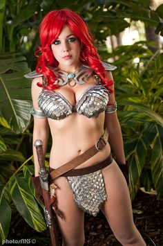 Red Sonja costume made by me (Nicole Marie Jean). Scale mail is real metal scale armor. Photo by AnimazeGuy This photo (and many others) are...