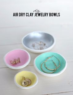 Dollar Store Crafts - DIY Air Dry Clay Jewelry Bowls - Best Cheap DIY Dollar Store Craft Ideas for Kids, Teen, Adults, Gifts and For Home - Christmas Gift Ideas, Jewelry, Easy Decorations. Crafts to Make and Sell and Organization Projects http://diyjoy.com/dollar-store-crafts