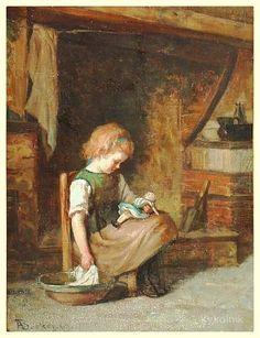 Adolf von Becker (Finnish 1831-1909) «Girl wit doll» 1869