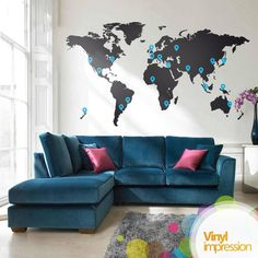 This would be great to mark places we have been as well as be a good piece for a large wall!   £59.99 ---> Vinyl Impression World Map Vinyl Wall Sticker