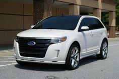 Ford Edge Sport White 2013 my pretty girl! Ford Edge Suv, 2016 Ford Edge, Car Ford, Ford Explorer, Rims For Cars, Car Rims, Mustang, Black Betty, Dream Garage