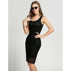 Women Fashion Sexy Casual Round Neck Sleeveless Floral Lace Lined Solid Bodycon Pencil Dress