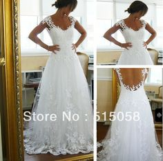 Popular Cap Sleeves Open Back White Lace Weddings&Events Dresses 2014 New Bridal Wedding Gowns