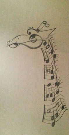 Giraffe made out of music notes. Very creative ide. Giraffe made out of music notes. Very creative idea. The artist did a great job. Music Drawings, Cool Drawings, Afrique Art, Giraffe Art, Giraffe Drawing, Giraffe Painting, Baby Giraffes, Music Tattoos, Painting & Drawing
