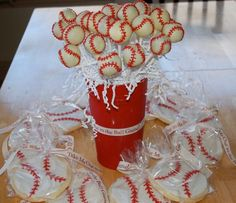 Baseball cake pops and cookies