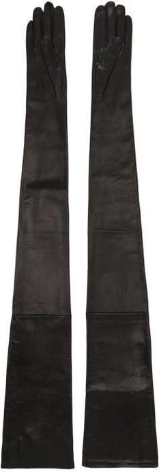 Maison Margiela Black Long Leather Gloves