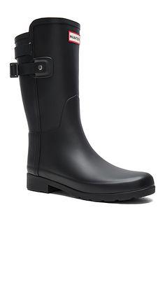 584db25dfc09 Shop for Hunter Original Refined Back Strap Short Boot in Black at REVOLVE.  Free 2