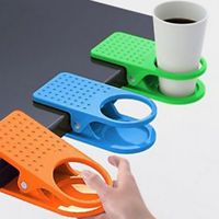 CREATIVE OFFICE HOME DESK TABLE DRINK WATER COFFEE MUG CLIP ON CUP HOLDER IDEAL