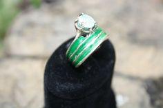 enamel sterling silver gem ring // blue, green // special design , unique enamel ring