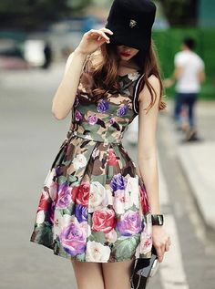 Multicolor Sleeveless Camouflage Floral Flare Dress-SheIn