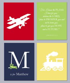 "Boy Room Transportation Modern Nursery Set - Airplane Train Car Monogram Scripture - Pottery Barn Patrick Bedding - Set of four 8""x10""s on Etsy, $45.00"