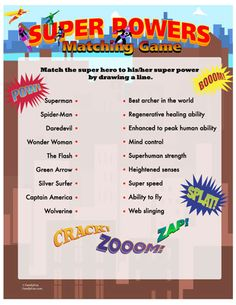 Super Powers Matching Game (Printable Activity for Kids) | Spoonful