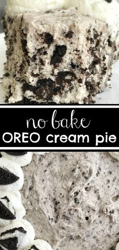 This Oreo cream pie will be one of the easiest desserts you'll ever make. An Oreo cookie crust filled with a cream Oreo filling. Top with additional whipped cream and Oreos for the ultimate Oreo Cream Pie. Only 6 simple ingredients needed. Desserts Keto, Sweet Desserts, Cookie Desserts, No Bake Desserts, Easy Desserts, Dessert Healthy, Italian Desserts, Baking Desserts, Lemon Desserts