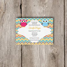Twin Owls Baby Shower Invitation