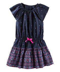 Navy Geometric Ruffle Dress - Toddler & Girls #zulily #zulilyfinds