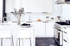 Kitchen Trends Here to Stay White kitchen cabinets. gorgeous floor and that stunning herringbone marble back splashWhite kitchen cabinets. gorgeous floor and that stunning herringbone marble back splash Scandinavian Kitchen Cabinets, Ikea Kitchen Cabinets, Kitchen Cabinet Design, White Cabinets, Floors Kitchen, Kitchen Countertops, Tv Cabinets, Bathroom Cabinets, Kitchen And Bath
