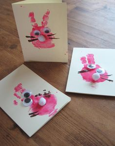 Handprint easter bunny cards