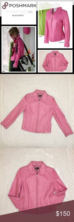 Black Rivet Bright Leather Jacket flamingo pink EUC - size medium - The essential key item of the season is the bright colored 24 inch zip front leather jacket with feminine shaped silhouette and biker yoke in back. Make a statement with your wardrobe in this vibrant coat! The hotest colors are represented in this selection. Color isn't just for handbags and shoes anymore, accessorize with sophistication and confidence. Ask questions or make me offers! Black Rivet Jackets & Coats Blazers
