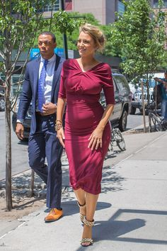 Pin for Later: Blake Lively's Maternity Style Is Straight-Up Glamour  Blake showed off her curves in Oscar de la Renta while out in NYC in June.