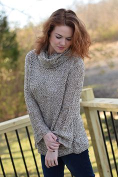 Cowl Neck Open Knit Sweater