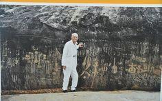 Ariano Suassuna na Pedra do Ingá,  Paraíba, julho de 2013