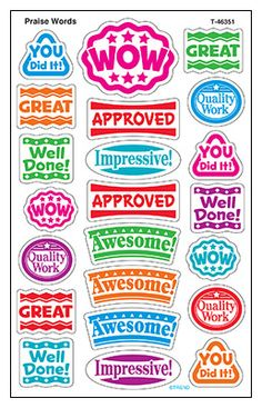 Praise Words superShapes Stickers – Large from TREND. Teacher-created, award-winning learning products for Pre-K to Grade 9. TRENDenterprises.com. Reward Stickers, Teacher Stickers, Stickers Online, Printable Stickers, Classroom Board, School Classroom, Teacher Stamps, Kids Rewards, School Labels