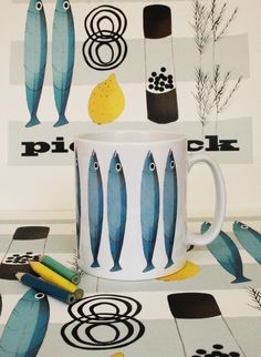Fish Mug - Swedish Style, retro.  by Jilly Bird at Folksy.com