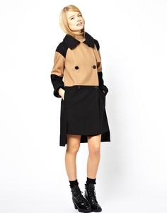 ASOS Contrast Coat With Stepped Hem