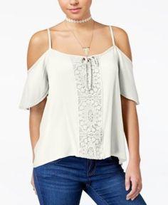 Seven Sisters Juniors' Crochet-Trim Cold-Shoulder Top - Ivory/Cream XL