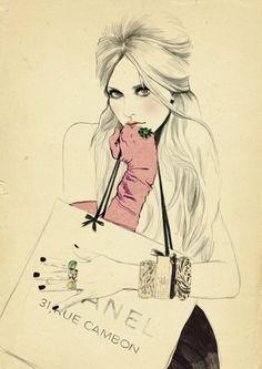 I love this Chanel bag fashion illustration. -shopping-bag-by-sandra-suy.jpg