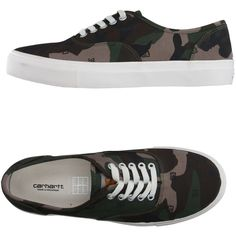 Carhartt Low-tops & Trainers ($73) ❤ liked on Polyvore featuring shoes, sneakers, military green, carhartt shoes, carhartt, olive shoes, low profile shoes and round toe shoes