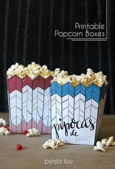 Persia Lou: Free Printable Popcorn Box and Brazilian Themed Movie Night