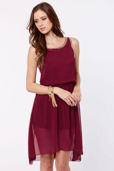 Fancy Burgundy Dress - Studded Dress - High-Low Dress - $48.00