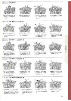 Условные обозначения для спиц в китайских и японских схемах