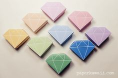 9 free printable origami crystal box papers, perfect gift boxes, straight forward to fold - watch the accompanying tutorial video for these origami gems!