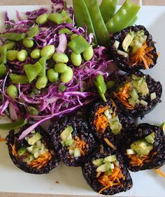 Forbidden Black Rice Sushi   The Vegan Chica  I am going to make this with sprouted black rice instead of cooked...
