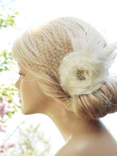 Bridal Birdcage Veil Wedding Hairstyles Bridal by BeHappyWedding