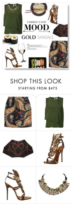 """""""Micro Trend: Solid Gold Sandals"""" by viola279 ❤ liked on Polyvore featuring Dsquared2, Kenzo, Riedel, Alexander McQueen, Giuseppe Zanotti and Marni"""