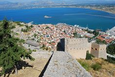 View of the old part of the city of Nafplio from Palamidi   . Palamidi is a fortress to the east of the Acronauplia in the town of Nafplio in the Peloponnese region of southern Greece. Nestled on the crest of a 216-metre high hill, the fortress was built by the Venetians during their second occupation of the area (1686–1715).