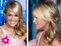 Peinado de novia en cola de caballo de lado al estilo Carrie Underwood