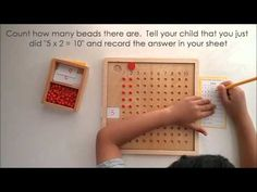 Montessori Multiplication Bead Board and Bars Montessori Color, Montessori Materials, Montessori Activities, Montessori Kindergarten, Montessori Classroom, Preschool, Home Learning, Learning Tools, Learning Multiplication