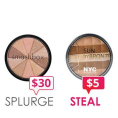 Smashbox Baked Fusion Soft Lights vs. NYC SUN'n'BRONZE. Click through for more #MakeupDupes