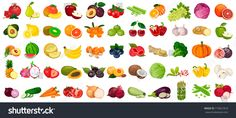 Set of berries and fruits, vegetables on a white background. Vector icon