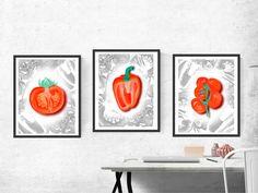 "Vegetables download (3JPG), Watercolor, Digital prints XXL 14,5""x19,3"", art wall decor, digital print, tomato,paprika, artwork decor. by KrisztinARTDesign on Etsy Wall Art Decor, Digital Prints, Gallery Wall, Watercolor, Vegetables, Frame, Handmade Gifts, Artwork, Etsy"