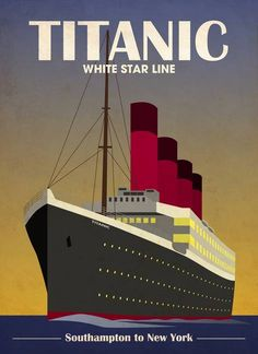 """""""Titanic Ocean Liner Art Deco"""" by Michael Tompsett: Titanic Ocean Liner Cruise Ship Art Deco Print // Buy prints, posters, canvas and framed wall art directly from thousands of independent working artists at Imagekind.com."""