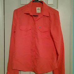 Hollister coral button down (216) Hollister coral button down Hollister Tops Button Down Shirts